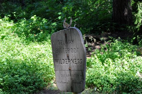Sign marking the boundary of the Selway-Bitterroot Wilderness