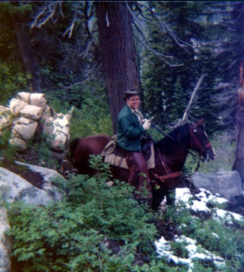 Ranger Art Seamans with Tag and Percy. Moose Creek, July 1975